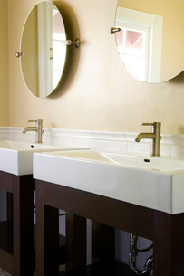 Contemporary Bathroom Sinks and Mirrorsの写真素材 [FYI01995760]