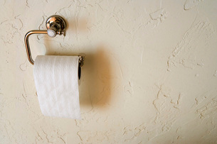 Roll of Toilet Paper against Wallの写真素材 [FYI01996504]