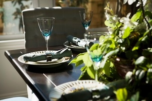 Place settings at dining room tableの写真素材 [FYI01996629]