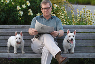 Man sitting with dogs on park benchの写真素材 [FYI01996728]