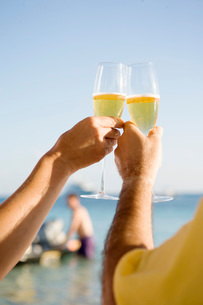 Couple toasting with champagneの写真素材 [FYI01996777]