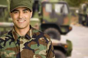 Male soldier wearing camouflageの写真素材 [FYI01997179]