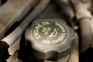 Close up of engine oil capの写真素材 [FYI01997213]