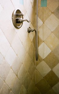 Tiled Shower with Knobの写真素材 [FYI01997286]