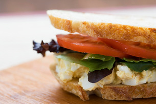 Close up of egg salad sandwichの写真素材 [FYI01997452]