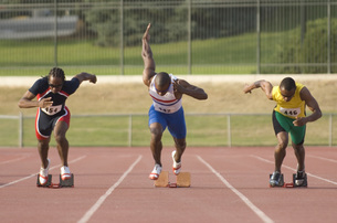male athletes running raceの写真素材 [FYI01997604]