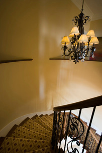 Winding Staircase with Wrought Iron Railingの写真素材 [FYI01997743]