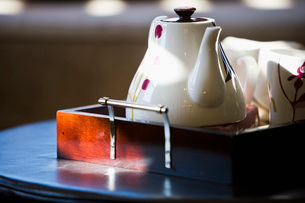 Contemporary Teapot with Purple Flowersの写真素材 [FYI01997801]