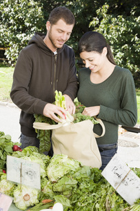 couple packing vegetables into bagの写真素材 [FYI01997868]