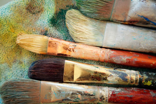 Close up of artistis paintbrushesの写真素材 [FYI01998014]