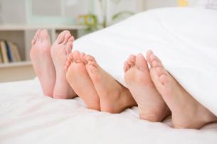 両親と男の子の足の裏の写真素材 [FYI01999009]