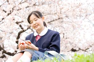 桜の下に座り単語を覚える女子中学生の写真素材 [FYI02001389]