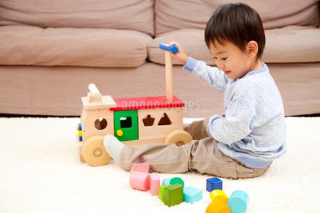 手押し車で遊ぶ男の子の写真素材 [FYI02001448]