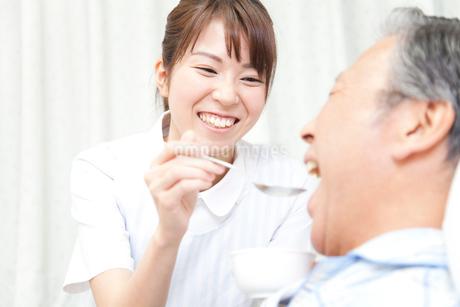 食事補助をする看護師の写真素材 [FYI02001492]