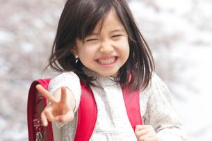 桜の下でVサインをする小学生女子の写真素材 [FYI02002038]