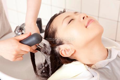 美容師にシャワーで洗髪してもらう女性の写真素材 [FYI02002348]
