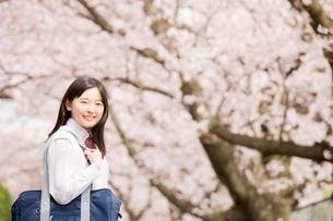 桜並木の下で振り返る女子中学生の写真素材 [FYI02004266]