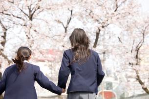 手を繋いで走る女子中学生2人の後姿の写真素材 [FYI02004558]