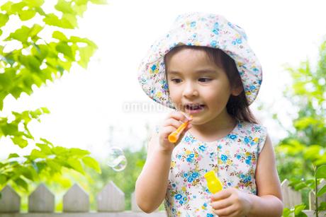 シャボン玉で遊ぶ女の子の写真素材 [FYI02005469]
