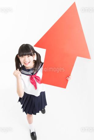 ガッツポーズをする女子中学生の写真素材 [FYI02006641]