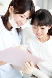 カウンセリングする歯科衛生士と患者の写真素材 [FYI02006759]