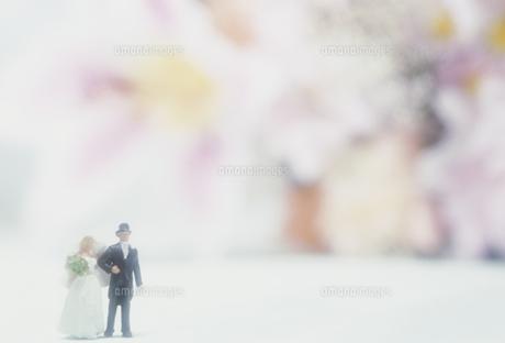 ウェディング人形と花の写真素材 [FYI02012165]