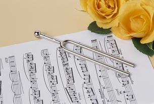 楽譜にバラと音叉の写真素材 [FYI02012370]
