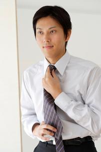 ネクタイをしめる20代男性の写真素材 [FYI02014294]