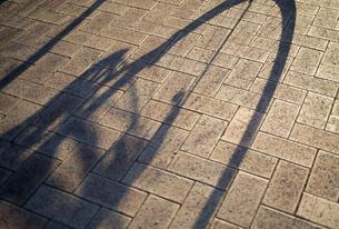 自転車の車輪のシルエットの写真素材 [FYI02014442]