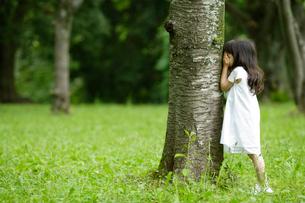 森の中で遊ぶ女の子の写真素材 [FYI02016933]
