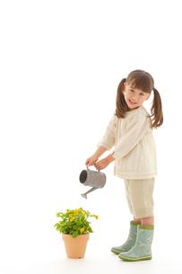 花に水をやるハーフの女の子の写真素材 [FYI02018233]