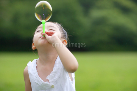 シャボン玉を吹く女の子の写真素材 [FYI02019404]