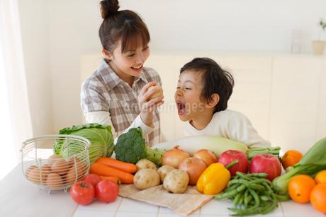 野菜や果物に触れる親子の写真素材 [FYI02019793]