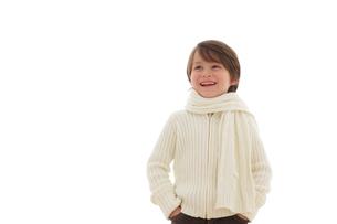 冬の装いの男の子の写真素材 [FYI02019934]