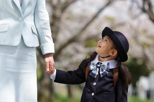 桜並木で手を繋いで見つめ合う幼稚園児とお母さんの写真素材 [FYI02020041]