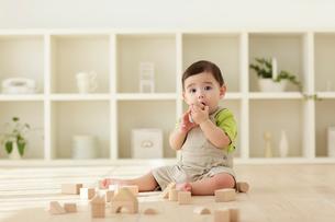 木の積み木で遊ぶ赤ちゃんの写真素材 [FYI02020379]