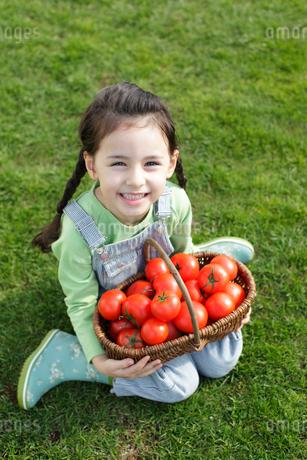 芝生の上で真っ赤なトマトを持つ女の子の写真素材 [FYI02021850]