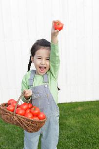 芝生の上で真っ赤なトマトを持つ女の子の写真素材 [FYI02022113]