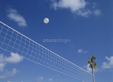 ビーチバレーのネットとボールの写真素材 [FYI02022343]