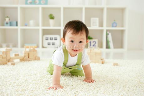 リビングルームでハイハイする赤ちゃんの写真素材 [FYI02022491]