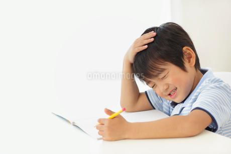 勉強中に頭を抱える男の子の写真素材 [FYI02023082]