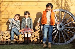 薪の上に座っている笑顔のきょうだいの写真素材 [FYI02023172]