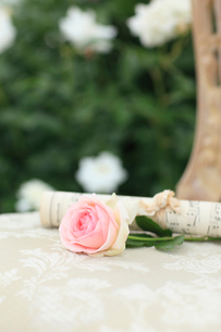 椅子の上の楽譜とバラの花の写真素材 [FYI02025133]