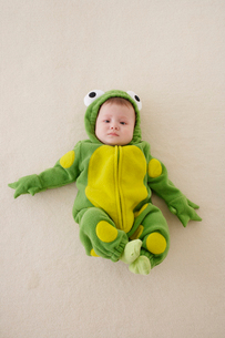 カエルの着ぐるみを着た赤ちゃんの写真素材 [FYI02025940]