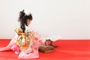 振り袖を着てお琴を弾く女の子の後姿の写真素材 [FYI02025997]
