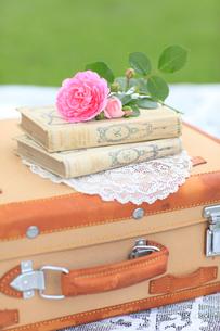 トランクの上の本とバラの花の写真素材 [FYI02026329]