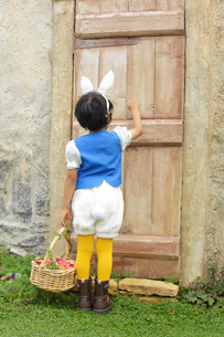 ハロウィンでウサギの仮装をした男の子の写真素材 [FYI02026352]