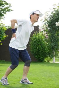 運動中に腰を痛めるシニア男性の写真素材 [FYI02026601]