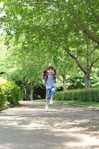 新緑の道をランドセルを背負い歩く女の子の写真素材 [FYI02026741]