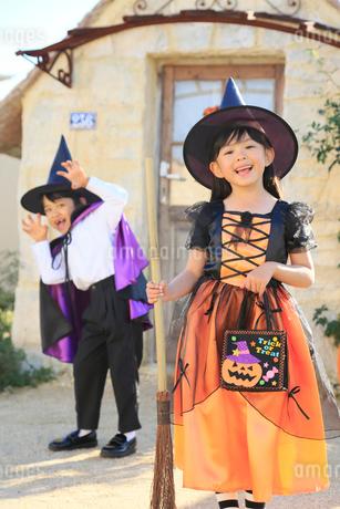 ハロウィンの仮装をしてポーズをとる子ども達の写真素材 [FYI02027878]